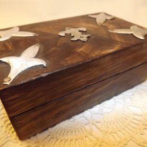 Vintage Wooden Box w/ Hammered Metal Embellishment